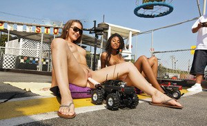 Black and white girls fucked by RC cars with dildos