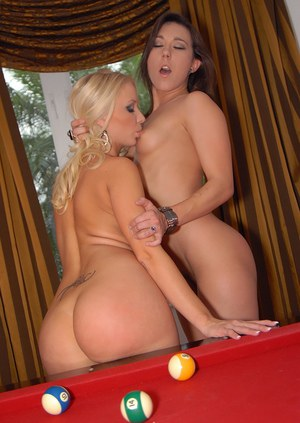 Lesbians licking pussy on pool table