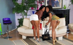 Black lesbians Misty Stone & Sky Banks licking their tight butt holes