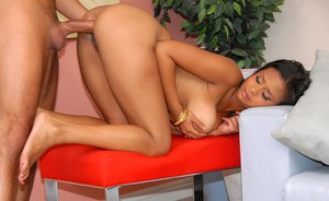 Black babe with puffy tits and bubble ass getting dicked hard