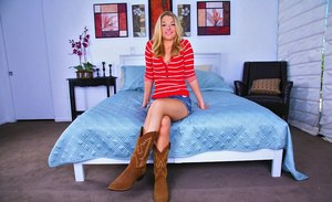 Hot teen blonde Tristyn Kennedy strips and poses in cowboy boots