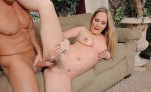 Blonde MILF with big tits Lynn Pleasant gets her hairy pussy fucked