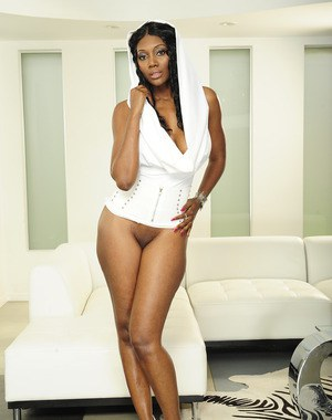 Gorgeous ebony babe Nyomi Banxxx undressing and spreading her legs