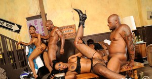 Sexy ebony MILFs get their black hairy pussies drilled hardcore