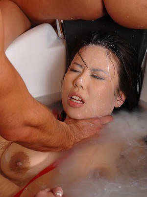 Gorgeous Kathia Nobili makes her Asian slave to suck cock in the bath