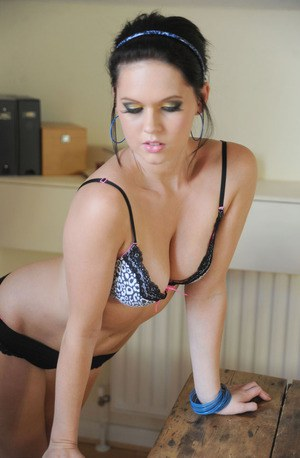 Sexy young babe Carly-Ann Cole takes off lingerie and poses in socks