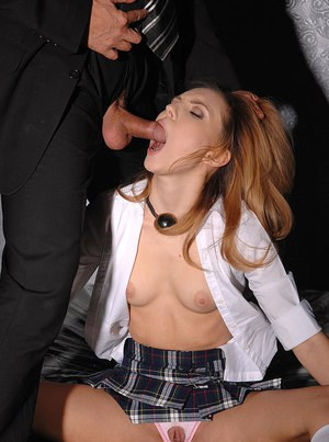Nataly Von in panty cutting fetish ends with ass full of gooey jizz