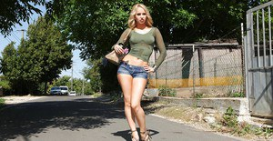 Blonde babe with slender body Aleska Diamond posing outdoor