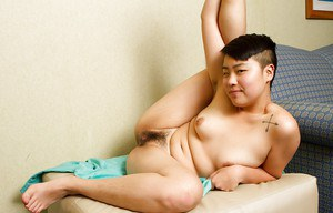 Nasty Asian Melissa strips out of her panties for hairy snatch play