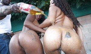 Tasty black chocolate Stacey & Candice bend their asses over for anal