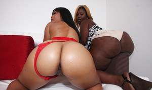 Slutty ebony babe with big ass Satin Lace posing with her friend