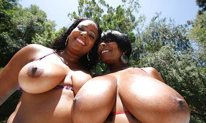 Bootylicious ebony babe Janae Stacy posing with her friend outdoor