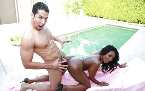 Adorable ebony chick with big tits gets her tight holes drilled outdoor