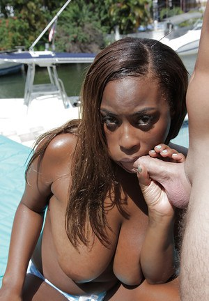 Busty ebony babe Tori Taylor gives a blowjob and gets fucked outdoor