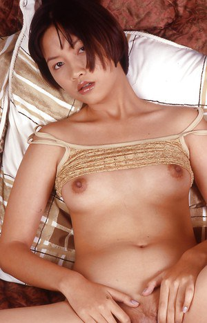 Filthy asian babe showing off her tits with puffy nipples and hairy poon