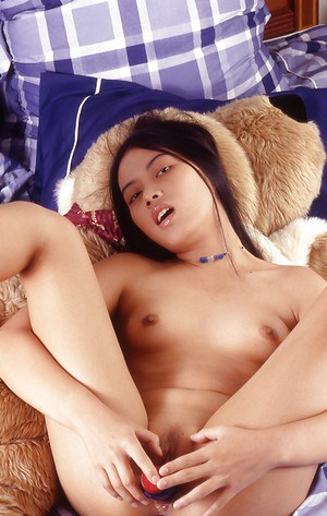 Asian teen hottie showing off her tiny tits and toying her tight cunt