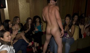 Stunning babes have fun with malestrippers at the wild private party
