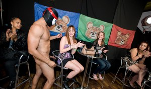 Pretty babes go nuts and suck a malestripper cock at the party