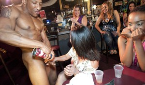 Naughty party girl sucks a stripper's dick and gets a cumshot on her tits