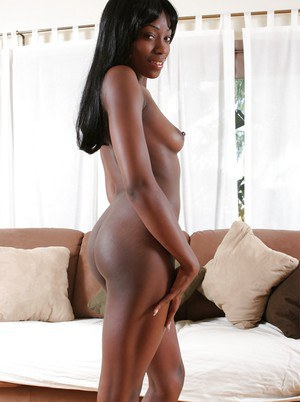 Ebony cutie Barbee Express stripping and masturbating her pussy