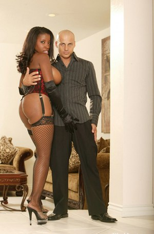 Busty ebony MILF in stockings Vanessa Blue gets shagged by a bald guy