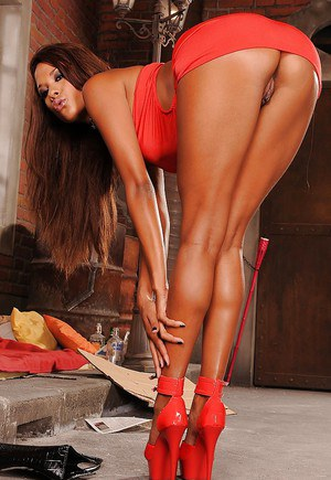 Stupendous babe on high heels Keisha Kane uncovering her fuckable body