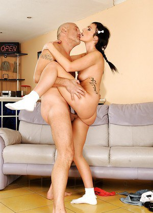 Brunette coed Lexi Ward gives a blowjob and gets fucked by an older guy