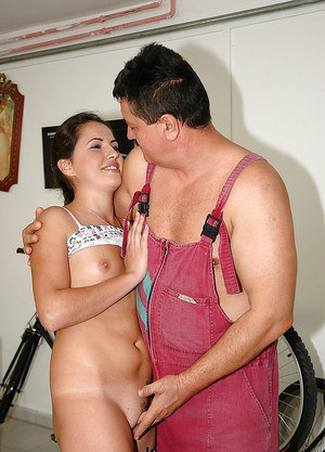 Sweet teen brunette with tiny tits gets banged by an oldman