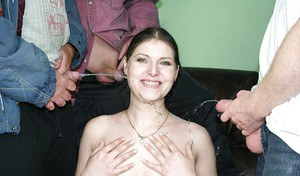Slutty european babe gets blowbanged and pissed on by four horny men