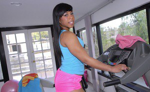 Ebony babe with a sexy ass Myeshia Nicole takes off shorts in the gym