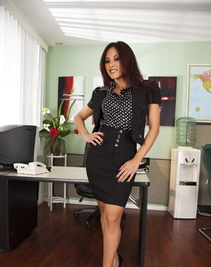 Adorable office babe Kaylani Lei stripping off her suit and lingerie