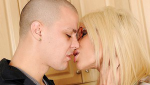 Busty MILF in glasses Puma Swede gives a blowjob and gets banged