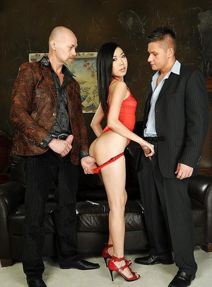 Skinny asian babe with tiny tits gets her love holes drilled by two pricks
