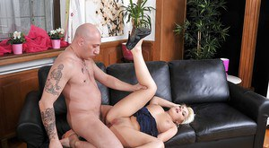 Lovely blonde with petite tits gets her asshole slammed hardcore