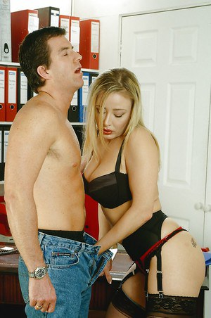 Big busted blonde babe in lingerie and stockings gets slammed hardcore