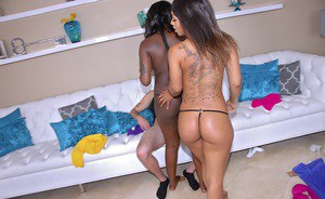 Hot ebony babe Leilani Leeane sharing a big cock with her sexy friend