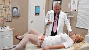 Busty blonde in nurse uniform Shyla Stylez gets shagged hardcore