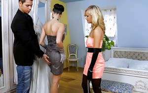 Hot babes Mea Melone & Bella Baby are into groupsex with a lucky guy