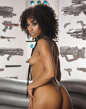 Stunning ebony babe Misty Stone stripping and masturbating her cunt