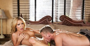 Big busted blonde Amy Brooke is into hardcore ass fucking