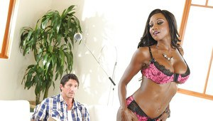 Sexy ebony MILF Diamond Jackson gets her asshole drilled by a big cock