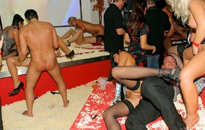 Cock hungry babes in stockings going wild at the drunk sex party