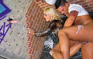 Hot pornstar Erica Fontes gets fucked and bukkaked with fake jizz