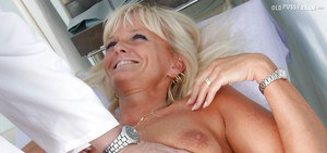 Blonde mature lady gets her cunt examed and toyed by naughty gyno