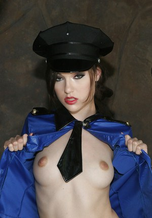Sexy babe in police uniform Sasha Grey uncovering her tiny curves