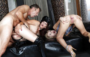 Stunning babes are into hardcore groupsex full off anal pleasures