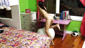 Skinny amateur teen brunette stripping and masturbating her tight cunt