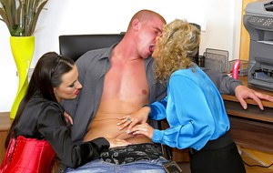 Samantha Jolie & Mea Melone are into CFNM groupsex in the office
