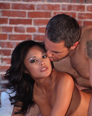 Asian babe Kaylani Lei gets a cumshot on her tiny tits after hardcore fucking