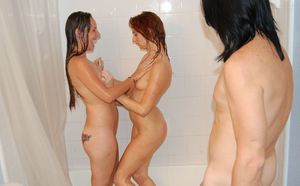 Lascivious teen babes having some fun with a hard dick in the bath